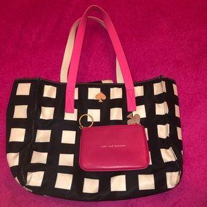 KATE SPADE TOTE ABD CHANGE PURSE BUNDLE PINK BLACK